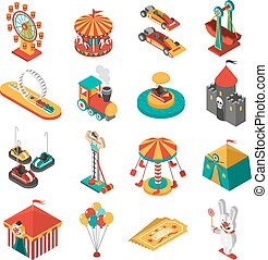 Amusement Park Isometric Icons Collection - Travelling...