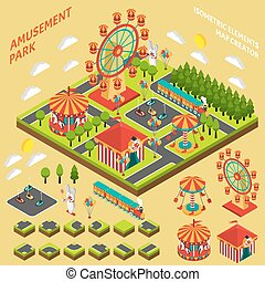 Amusement Park Isometric Map Creator Composition