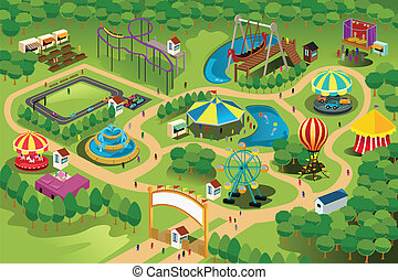 Amusement park map - A vector illustration of a map of an ...