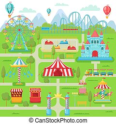 Amusement park map. Family entertainment festival attractions carousel, roller coaster and ferris wheel vector illustration