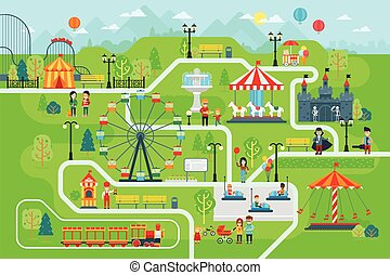 Amusement park map infographic elements in flat vector design.
