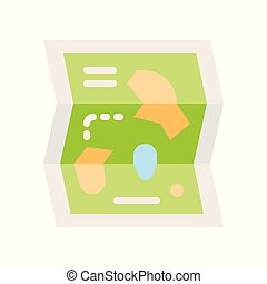 Amusement park map vector icon, amusement park related flat style