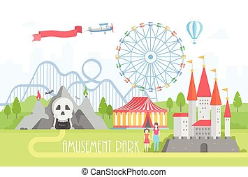 Amusement park - modern vector illustration on urban...