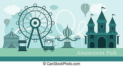 Amusement Park Mono Color - Carnival, Fun Fair, Theme Park,...