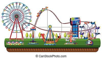 Amusement park on white background