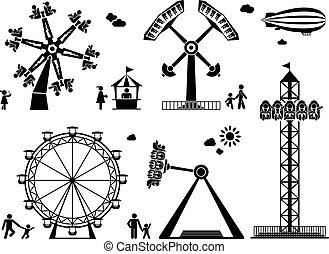 Amusement park pictogram set