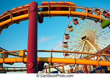 Amusement park rides on a pier, Santa Monica Pier, Santa...