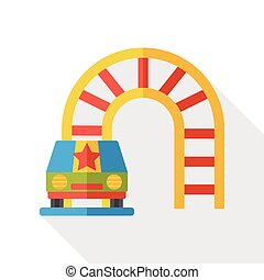 amusement park roller coaster flat icon