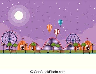 Amusement park scenery