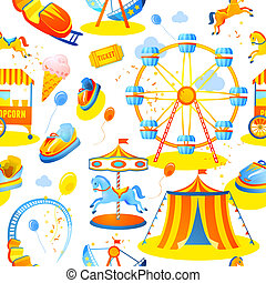 Amusement park seamless pattern - Amusement entertainment...