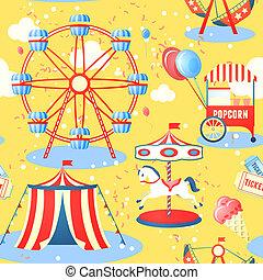 Amusement park seamless pattern - Amusement entertainment...