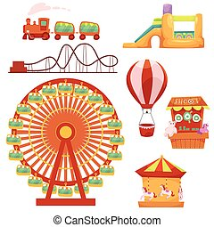 Amusement park set, cartoon vector illustration