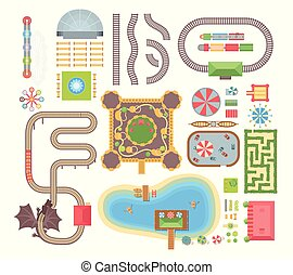 Amusement park - set of modern vector isolated objects