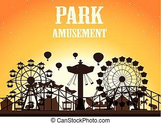 Amusement park silhoutte background illustration