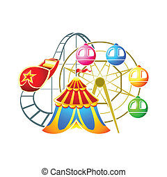 Amusement park symbol - Circus, ferris wheel and...