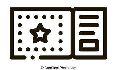amusement park ticket Icon Animation. black amusement park ticket animated icon on white background