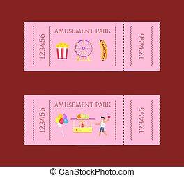 Amusement Park Ticket Set Vector Illustration