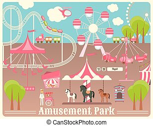 Amusement Park. Summer Holiday Card with Fairground...