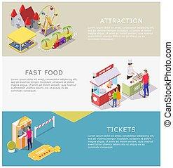 Amusement park vector web banner template set