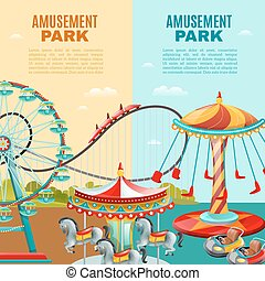 Amusement Park Vertical Banners - Amusement park cartoon...