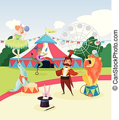 Amusement park with circus artists and marquee, ferris observation wheel and green trees on background. Cartoon characters of people and animals. Flat vector design