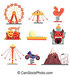 Amusement park with family attractions set of colorful...