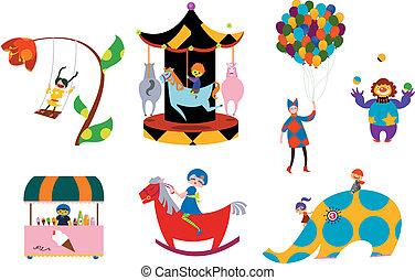 amusement parks icons pattern design.