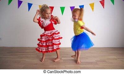 amusement, partie., roux, filles, blonds, enfants, avoir, ...