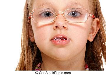 amusement, peu, isolé, girl, lunettes