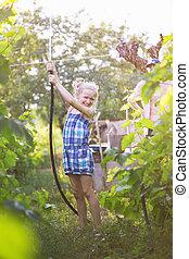 amusement, peu, jardin, girl, avoir
