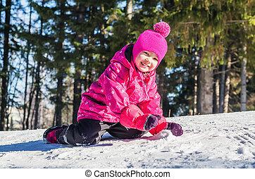 amusement, peu, neige, girl, avoir