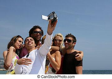 amusement, plage, amis, groupe, avoir