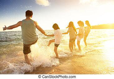 amusement, plage, avoir, famille, heureux