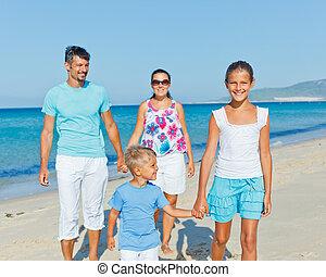 amusement, plage, avoir, famille