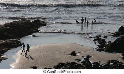 amusement, plage, avoir, gens
