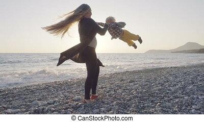 amusement, plage, avoir, maman, fils