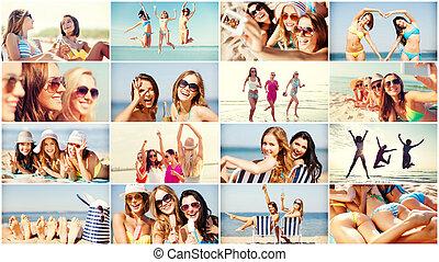 amusement, plage, filles, avoir