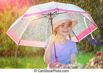 amusement, pluvieux, extérieur, temps