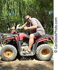 amusement, quad, vélo, homme poids excessif