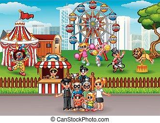 amusement, récréation, parc, membres, famille