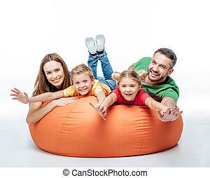 amusement, sack-chair, avoir, famille
