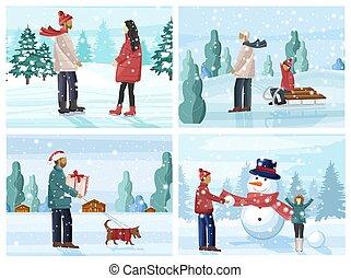 amusement, saison, avoir, ensemble, grand, gens, hiver