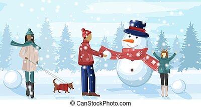 amusement, saison, avoir, famille, hiver