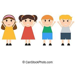 amusement, sauter, groupe, enfants, heureux