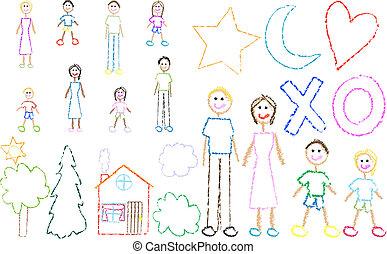 amusement, schéma crayon, famille, gosse