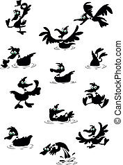 amusement, silhouettes, collection, canard