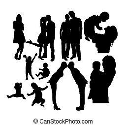 amusement, silhouettes, famille heureuse, activité