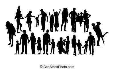 amusement, silhouettes, famille, heureux