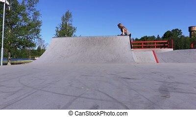 amusement, skateboard, girl, rampe, prendre