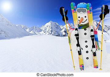 amusement, soleil, hiver, neige